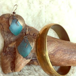 Vintage ethnic earrings and brass bangle